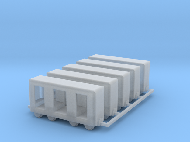 Grubenbahn Perseonenwagen V2 - 5erSet - TTf 1:120 in Smooth Fine Detail Plastic