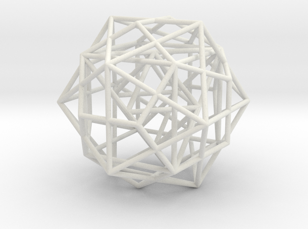 Nested Platonic Solids -round struts in White Natural Versatile Plastic
