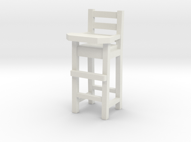 1:48 Baby High Chair in White Natural Versatile Plastic