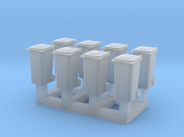Trash bin set C ( 8 pcs ) 1:150 scale  in Smoothest Fine Detail Plastic