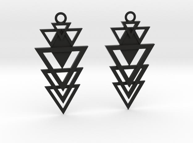 Geometrical earrings no.12 in Black Natural Versatile Plastic: Small