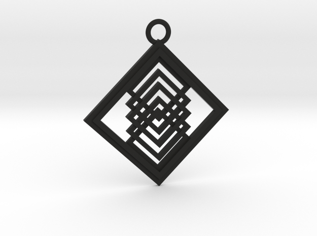 Geometrical pendant no.14 in Black Natural Versatile Plastic: Large