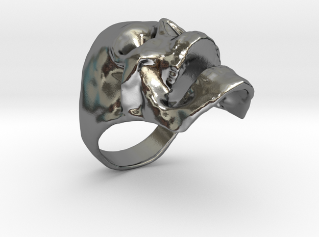 Skull Big Ring in Polished Silver: 10 / 61.5