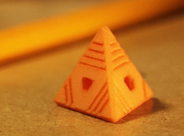 D4 - Stripes: 4-sided die in Orange Processed Versatile Plastic