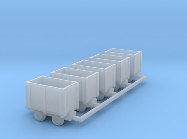 Holz-Kastenlore 5erSet - TTf 1:120 in Smooth Fine Detail Plastic