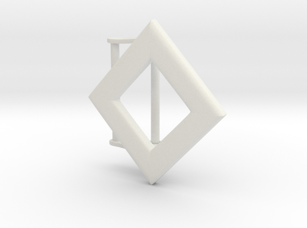 Diamond Belt Buckle in White Natural Versatile Plastic