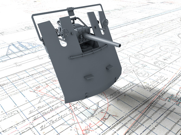 "1/35 3-pdr 1.85""/40 (47 mm) MKV Mounting in Smooth Fine Detail Plastic"