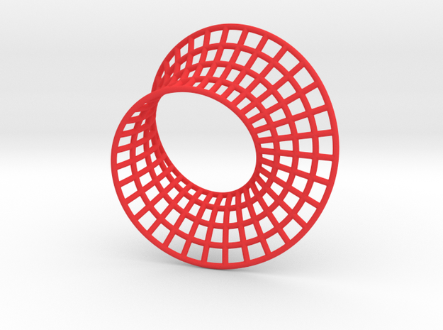 Minimal Mobius Grid in Red Processed Versatile Plastic: Small