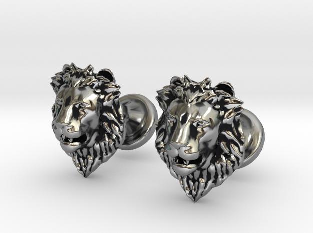 Lions Head cufflinks in Antique Silver