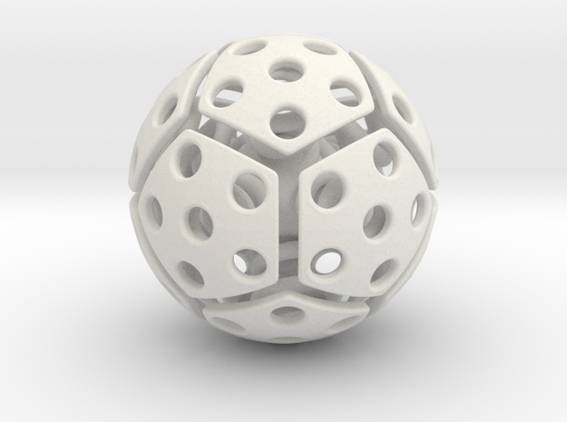 bouncing cat toy ball perforated size L in White Natural Versatile Plastic: Large