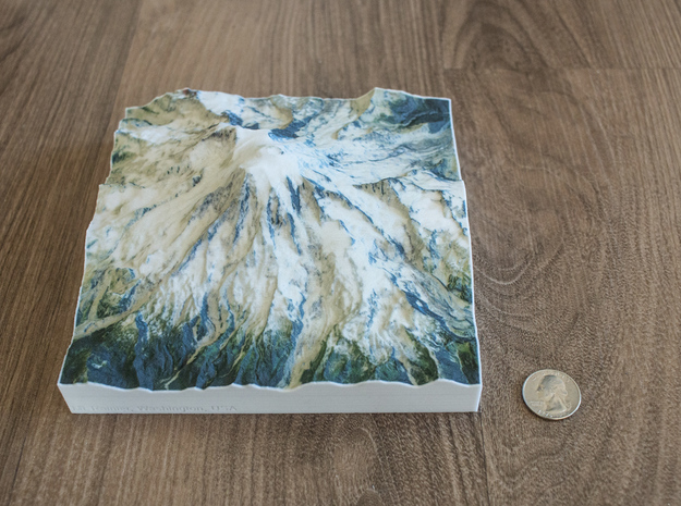 Mt. Rainier, Washington, USA, 1:75000 Explorer in Natural Full Color Sandstone