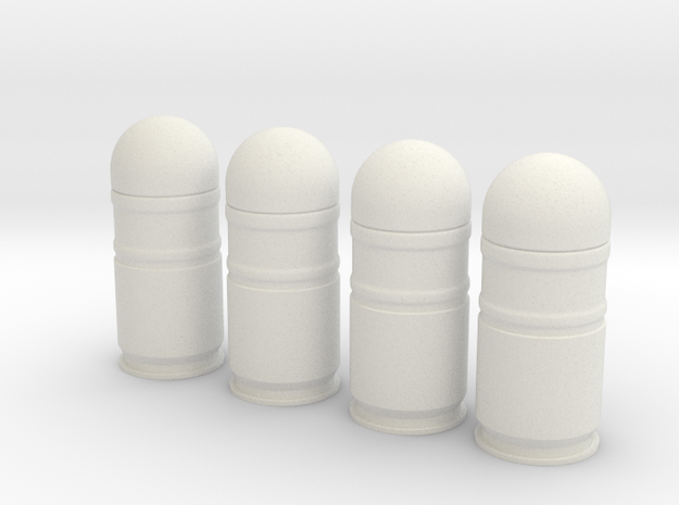 four 40mm grenades in 1/6 scale in White Natural Versatile Plastic