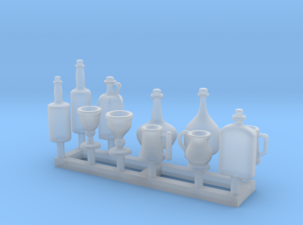 Medieval Style Tankards and Bottles 1/24 scale in Smooth Fine Detail Plastic