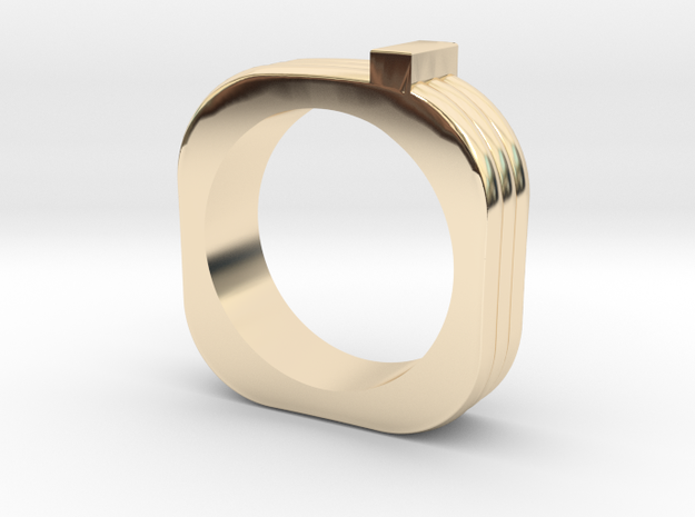 Squared triple ring in 14K Yellow Gold: 5.5 / 50.25