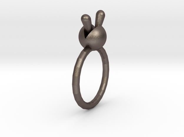 Monilaria Obconica Ring in Polished Bronzed-Silver Steel: 1.5 / 40.5