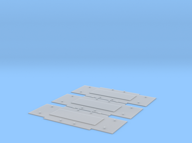 Baseplates for Bedford axleguards, 12ft w/b, x3 in Smooth Fine Detail Plastic