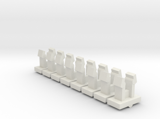 USS Flagg Replacement Deck Clips (x8) in White Natural Versatile Plastic