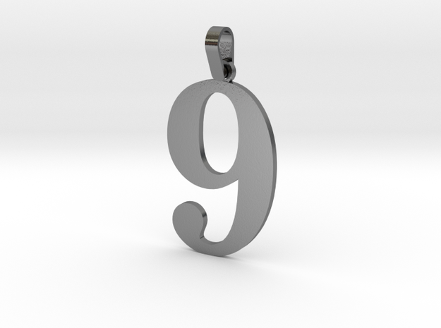 9 Number Pendant in Polished Silver (Interlocking Parts)