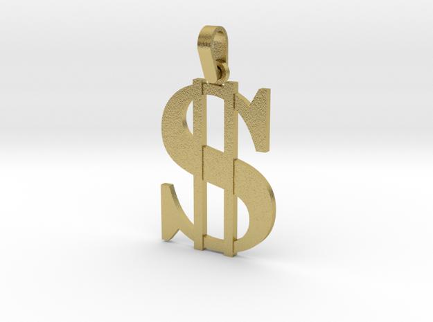 Gangster Pendant in Natural Brass (Interlocking Parts)