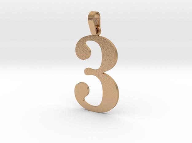 3 Number Pendant in Natural Bronze (Interlocking Parts)