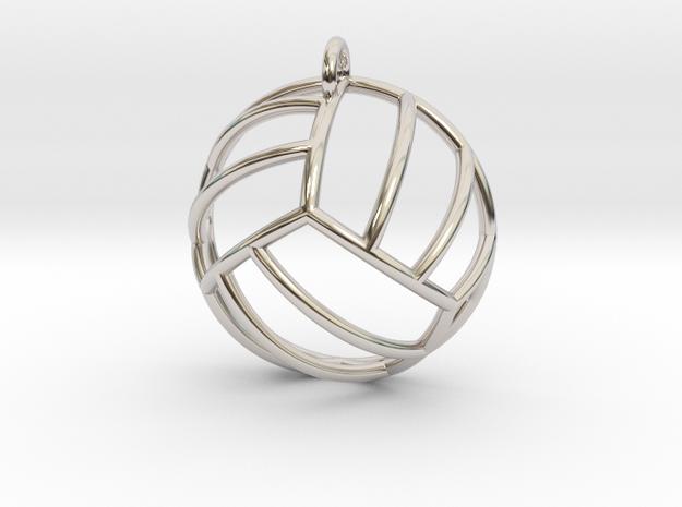 Volleyball Pendant (Hemisphere) in Rhodium Plated Brass