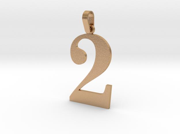 2 Number Pendant in Natural Bronze (Interlocking Parts)