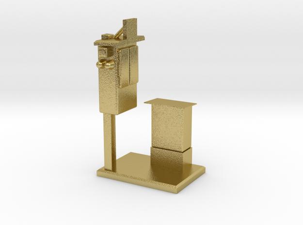 Streckentelefon mit Schaltkasten 1:160 in Natural Brass