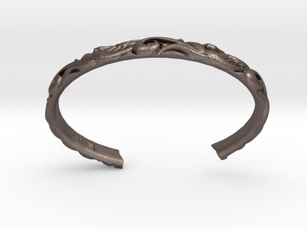 Japanese Pattern Bangle in Polished Bronzed-Silver Steel