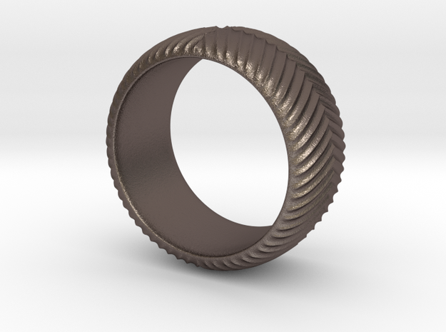 Knurled Ring in Polished Bronzed-Silver Steel: 8 / 56.75