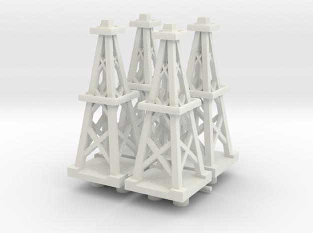 4 Inch Oil Derrick x4 in White Natural Versatile Plastic