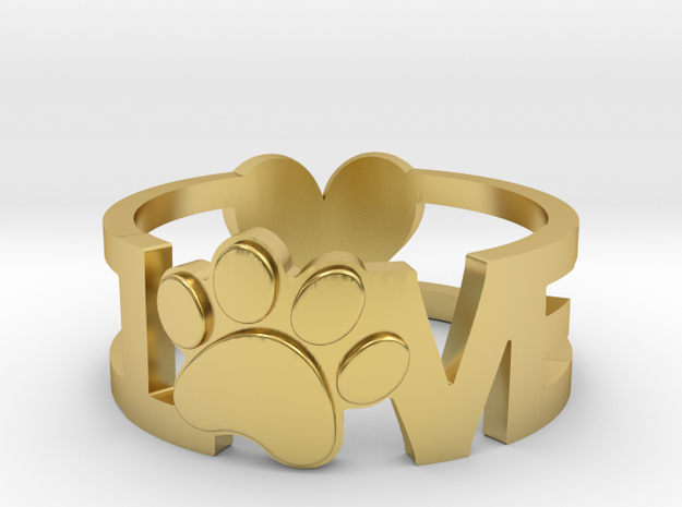 Unconditional Love Ring in Polished Brass