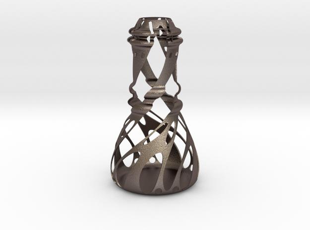 Vase-01 in Polished Bronzed-Silver Steel