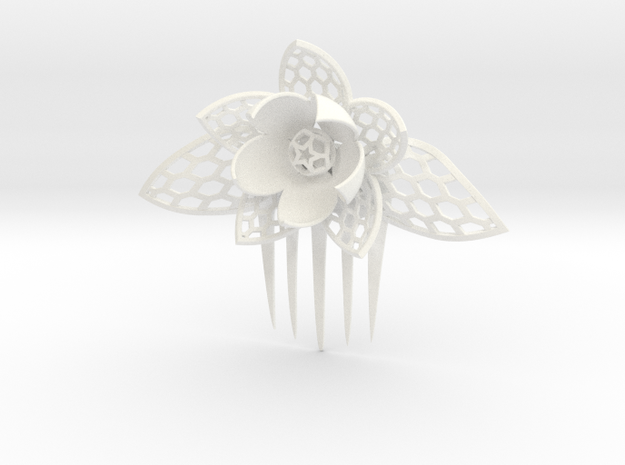 HoneyComb Flower Pin in White Processed Versatile Plastic