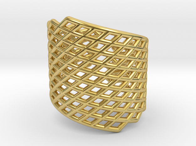 Assymetrical Mesh Grid Ring: Adjustable size 5-7 in Polished Brass