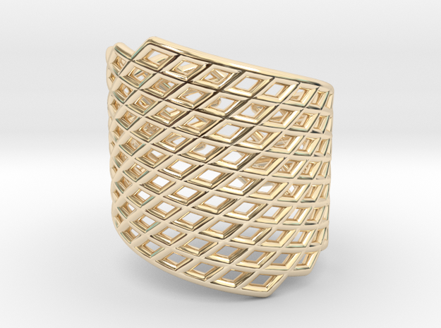 Assymetrical Mesh Grid Ring: Adjustable size 5-7 in 14k Gold Plated Brass