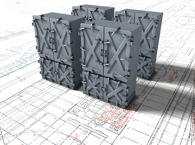 """1/144 Royal Navy 4"""" Ready Use Lockers (Large) x4 in Smoothest Fine Detail Plastic"""