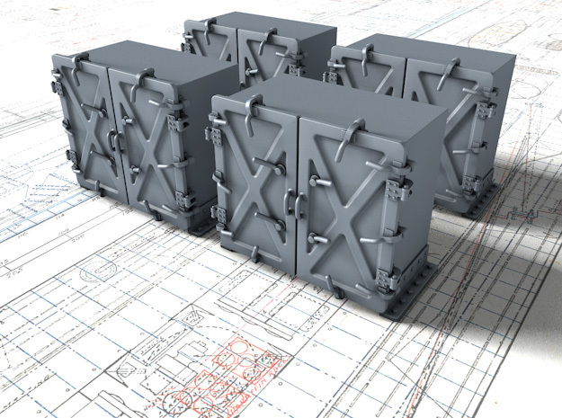 """1/144 Royal Navy 4"""" Ready Use Lockers (Med) x4 in Smoothest Fine Detail Plastic"""