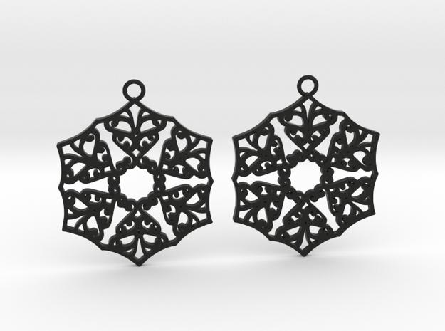 Ornamental earrings no.3 in Black Natural Versatile Plastic