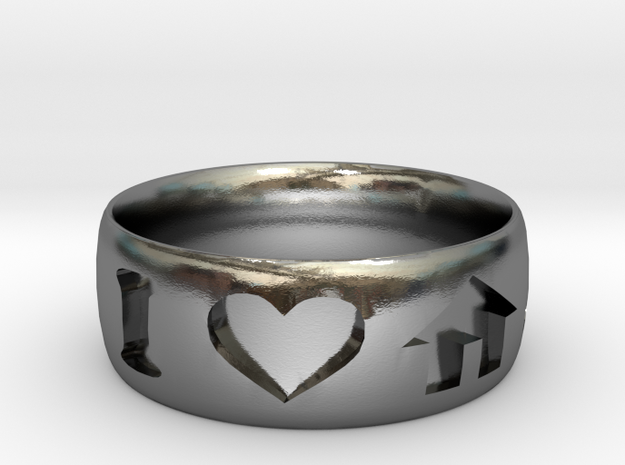 I Heart House Music Ring in Polished Silver: 6 / 51.5