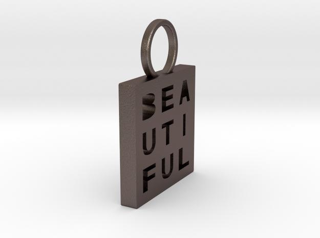 """Beautiful"" Keychain in Polished Bronzed-Silver Steel"