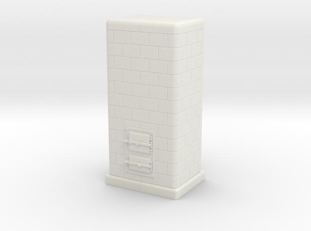H0 Tiled coal-burning stove 1:87 (I) in White Natural Versatile Plastic
