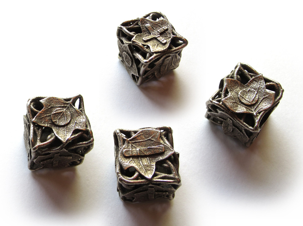 Fudge Botanical Die6 (Tulip Tree) 4d6 Set in Polished Bronzed Silver Steel