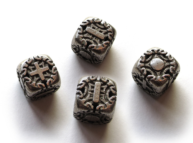 Fudge Art Nouveau Die6 4d6 Set in Polished Bronzed Silver Steel