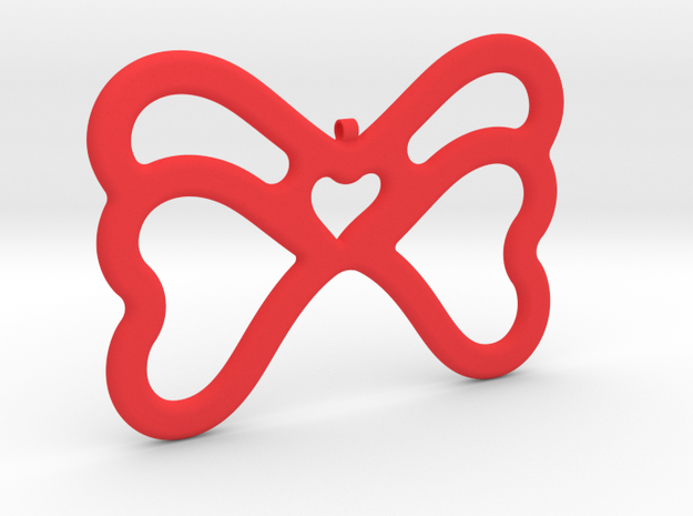 Butterfly Pendant / Necklace-21 in Red Processed Versatile Plastic