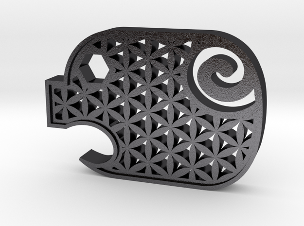 Piggy Flower in Polished and Bronzed Black Steel