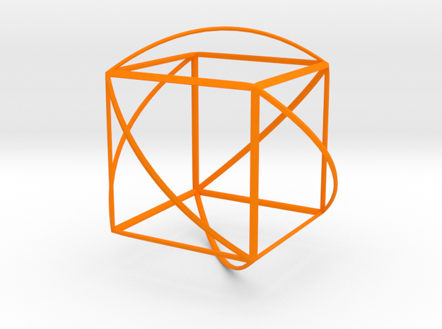 Walsh Cube in Orange Processed Versatile Plastic