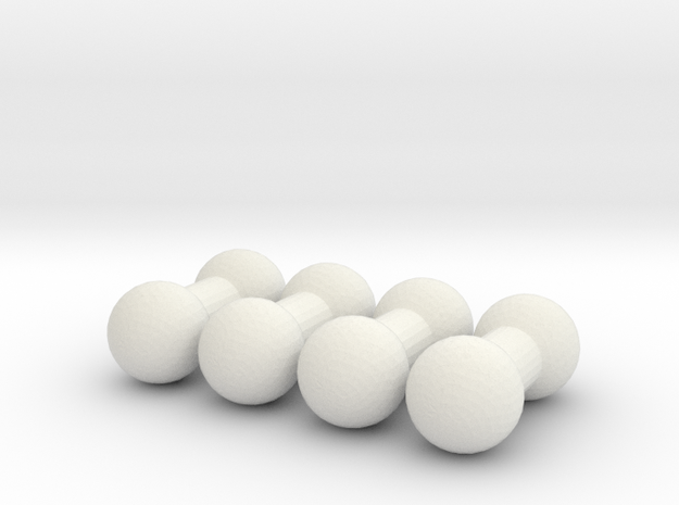 4mm Post set of 4 in White Natural Versatile Plastic