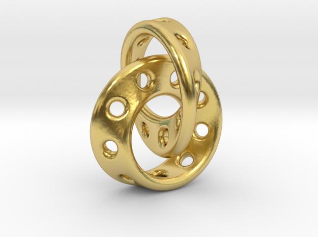 Möbius Band pendant interlocked in Polished Brass (Interlocking Parts)