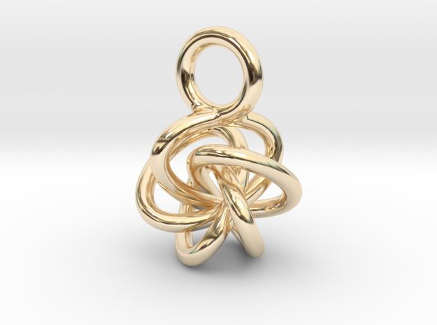 5-Knot Earring 10mm wide in 14k Gold Plated Brass