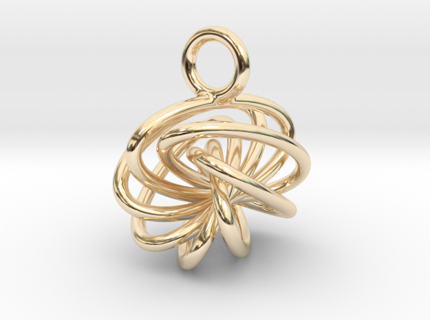 7-Knot Earring 10mm wide in 14k Gold Plated Brass